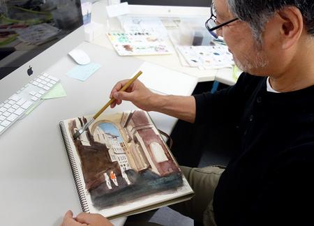 ニカさん水彩描きかけ.JPG