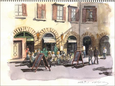 二階堂隆の水彩画 フィレンツェのカフェ.jpg