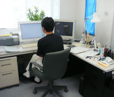 工業デザインの事務所エルグデザインの二階堂隆のワークスペース