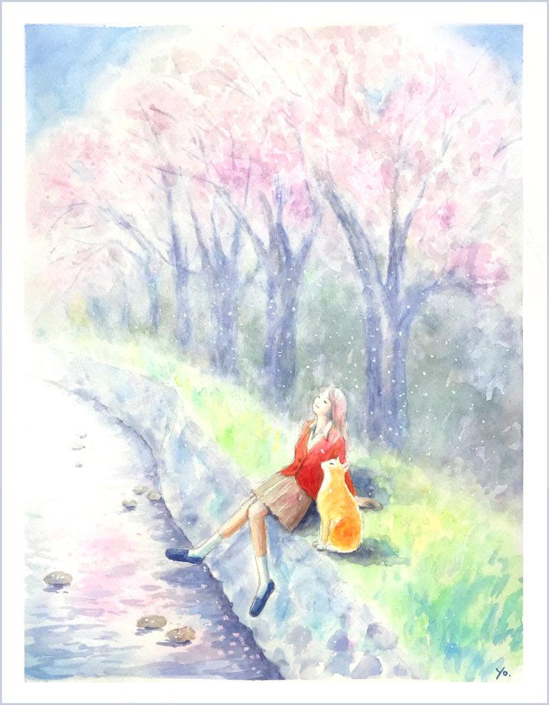 桜と猫 水彩画 二階堂美子