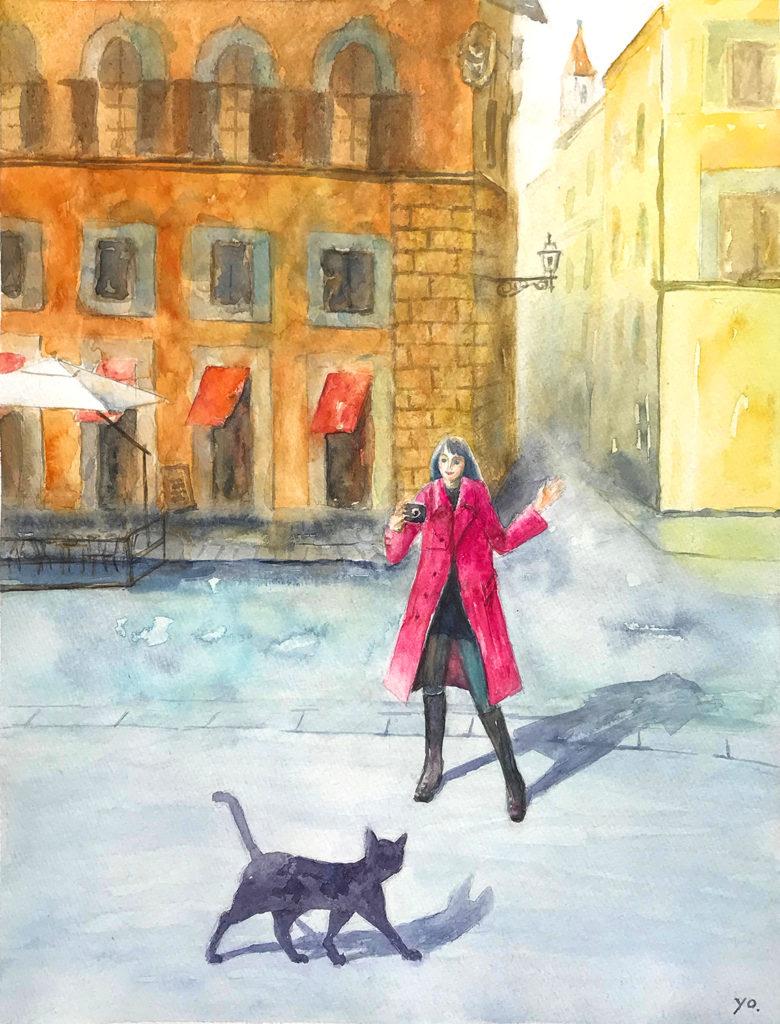 二階堂美子 猫 水彩画