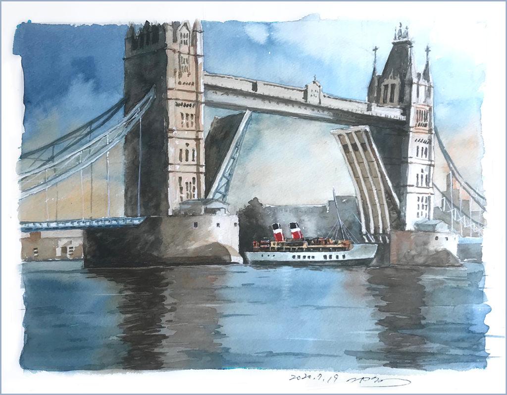 二階堂隆 水彩画 ロンドン橋再創