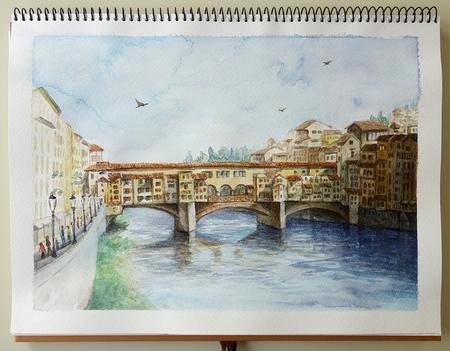 ベッキオ橋 二階堂美子 水彩画