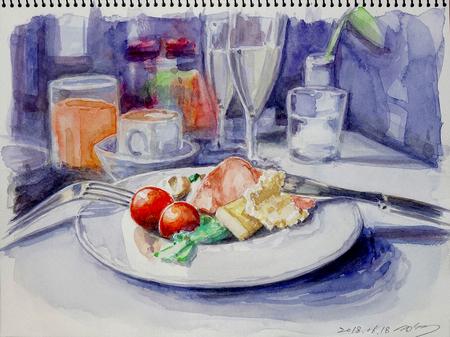 二階堂隆 水彩画 ワインのある朝食.jpg