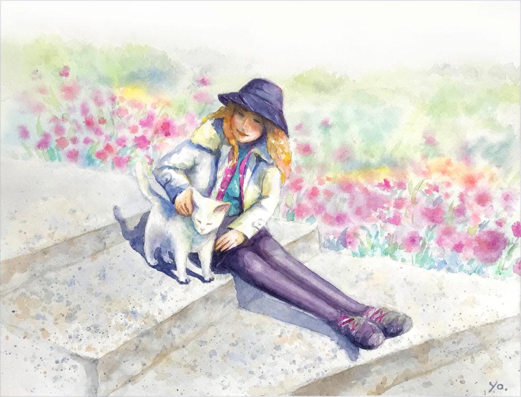 二階堂美子 水彩画 猫