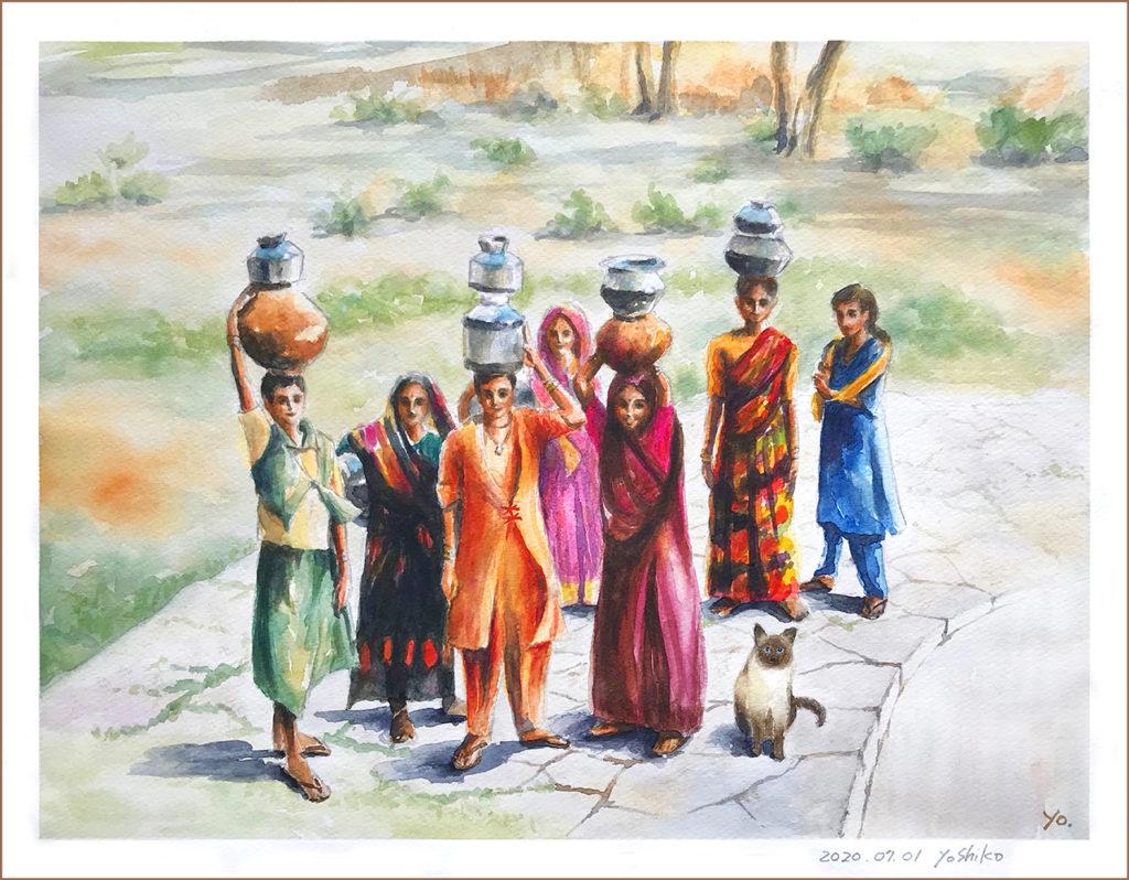 二階堂美子の水彩画インドの水汲み場の女性達