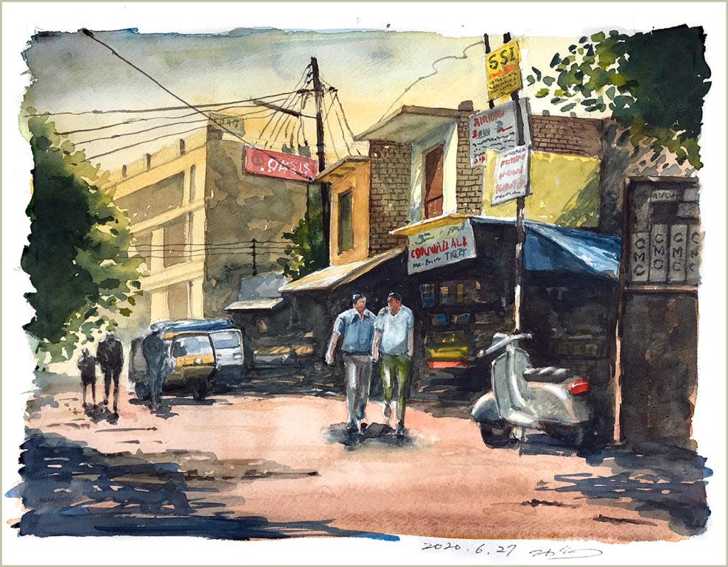二階堂隆 水彩画 インド